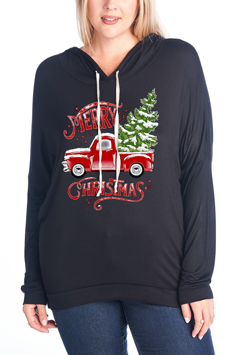 Merry Car Long Sleeve Hoodie - orangeshine.com