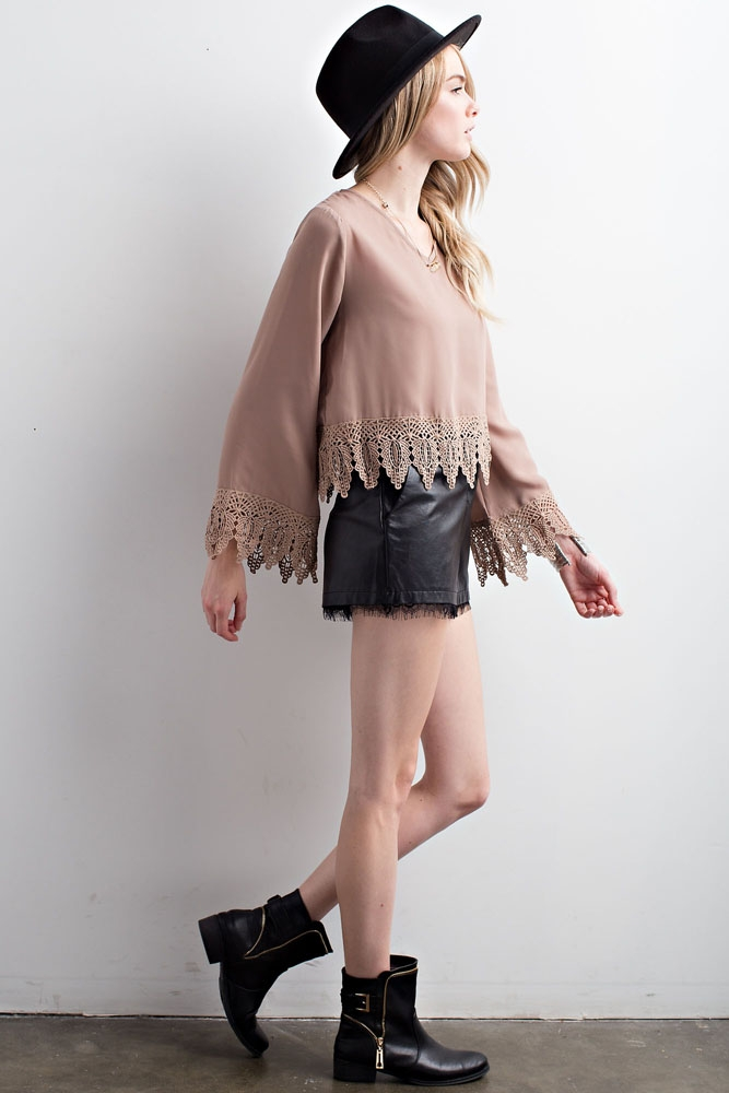 Detailed Lace Trim Bell Sleeve Top - orangeshine.com