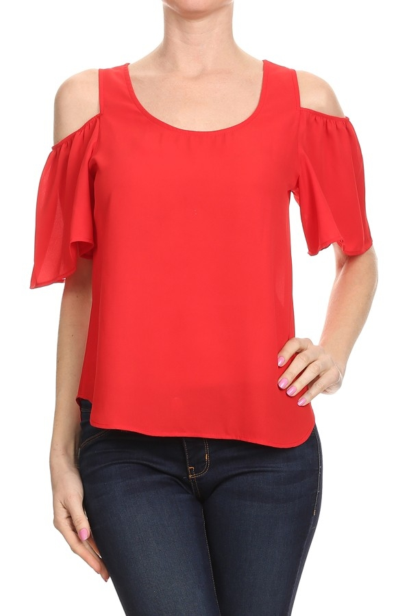 Solid Cold Shoulder TOP - orangeshine.com