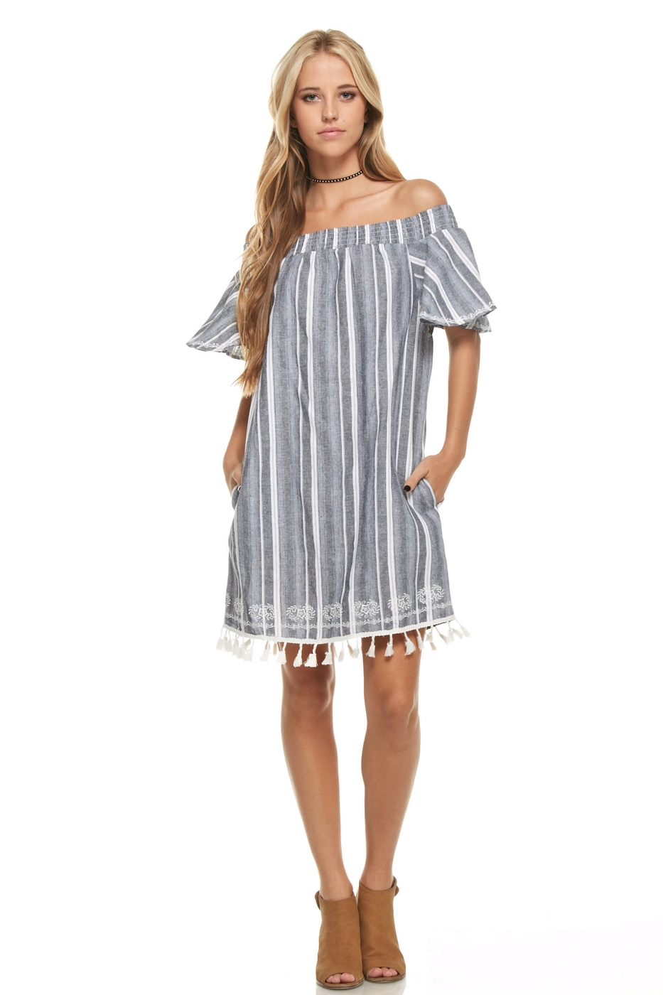 Off Shoulder Striped Dress - orangeshine.com