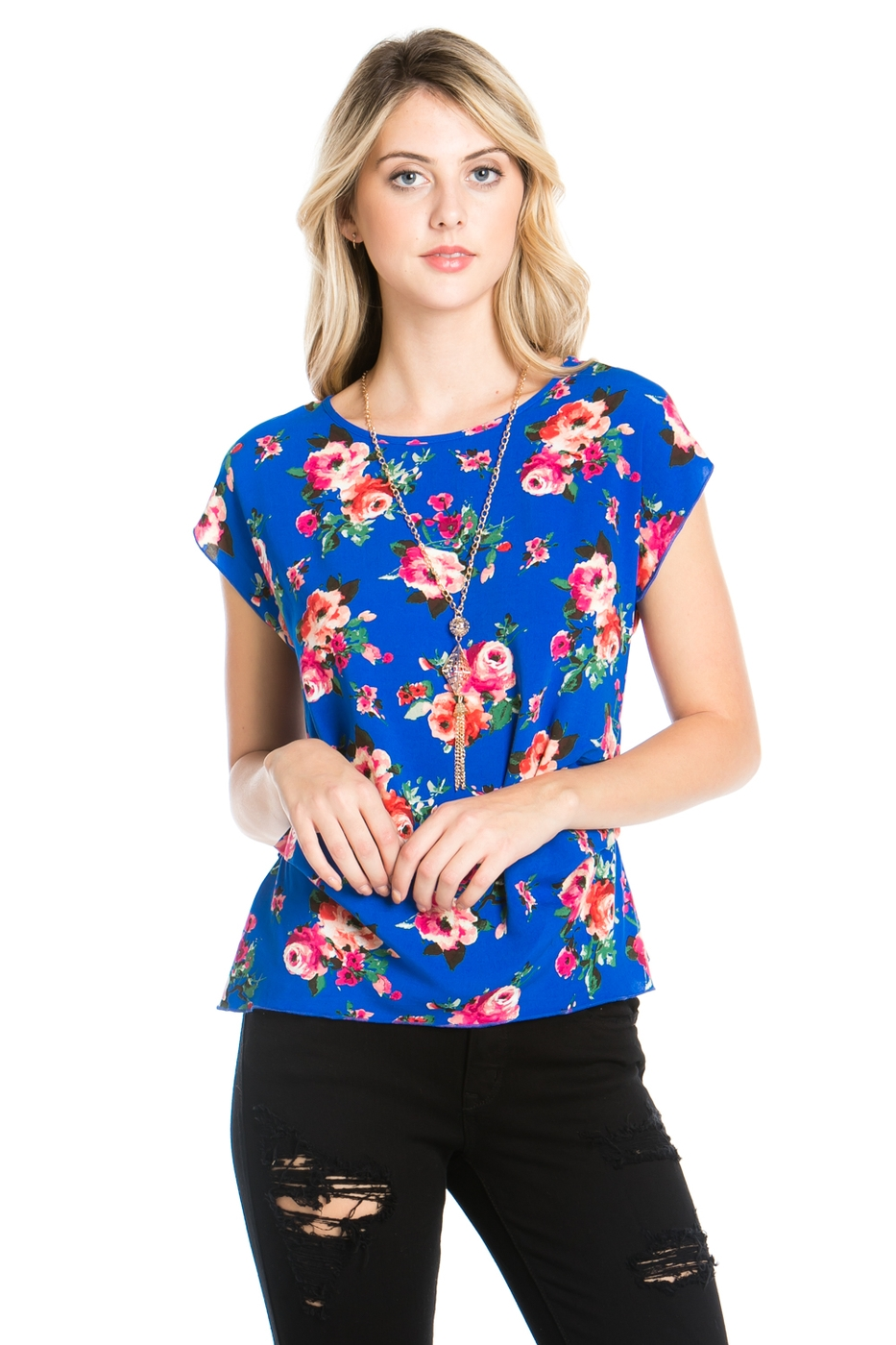 FLORAL PRINT SHORT SLEEVE TOP - orangeshine.com
