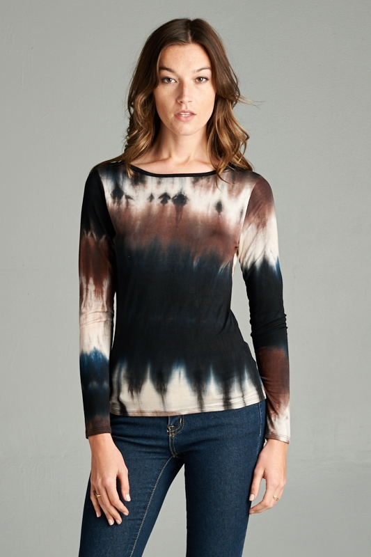 LONG SLEEVE TIE-DYE TOP - orangeshine.com