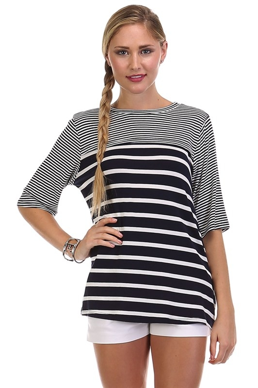 MIXED STRIPE ELBOW SLEEVE COMBO TOP - orangeshine.com