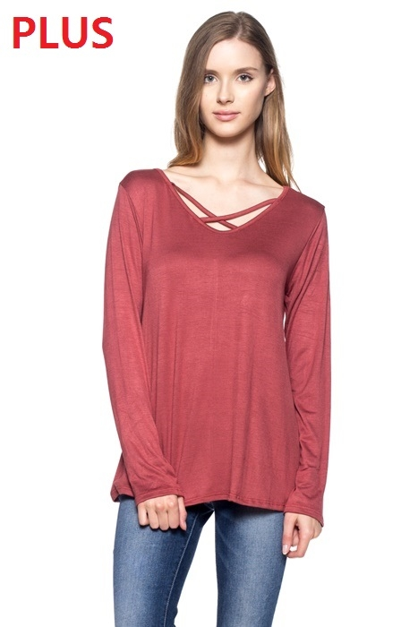 Plus Size V neck Crossed Strap Top - orangeshine.com