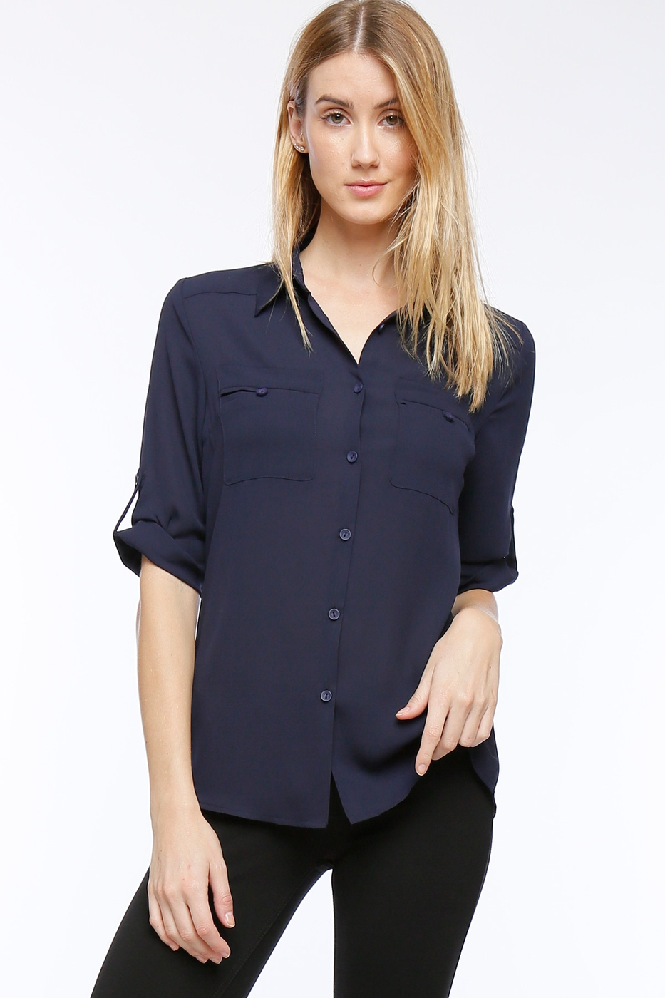 Button Up Blouse with Pockets - orangeshine.com