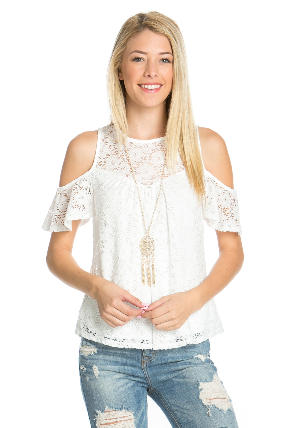 STRETCH LACE CAP SLEEVE TOP - orangeshine.com