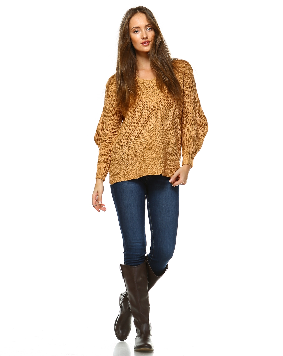 -Bohemian Knitting Pullover Sweater  - orangeshine.com