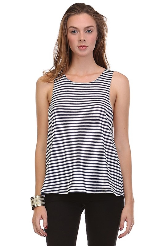NAVY STRIPED TANK - orangeshine.com
