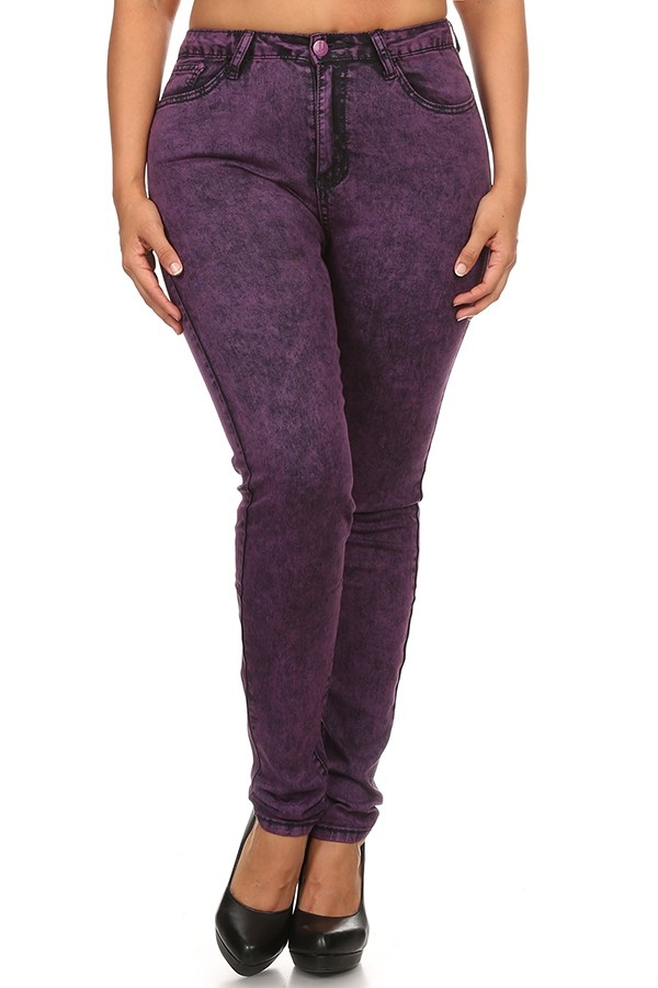 PURPLE ACID WASH PLUS SIZE JEAN - orangeshine.com