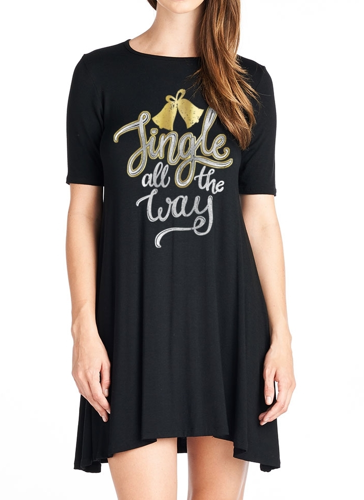 Solid Short Sleeve Tunic Dress - orangeshine.com