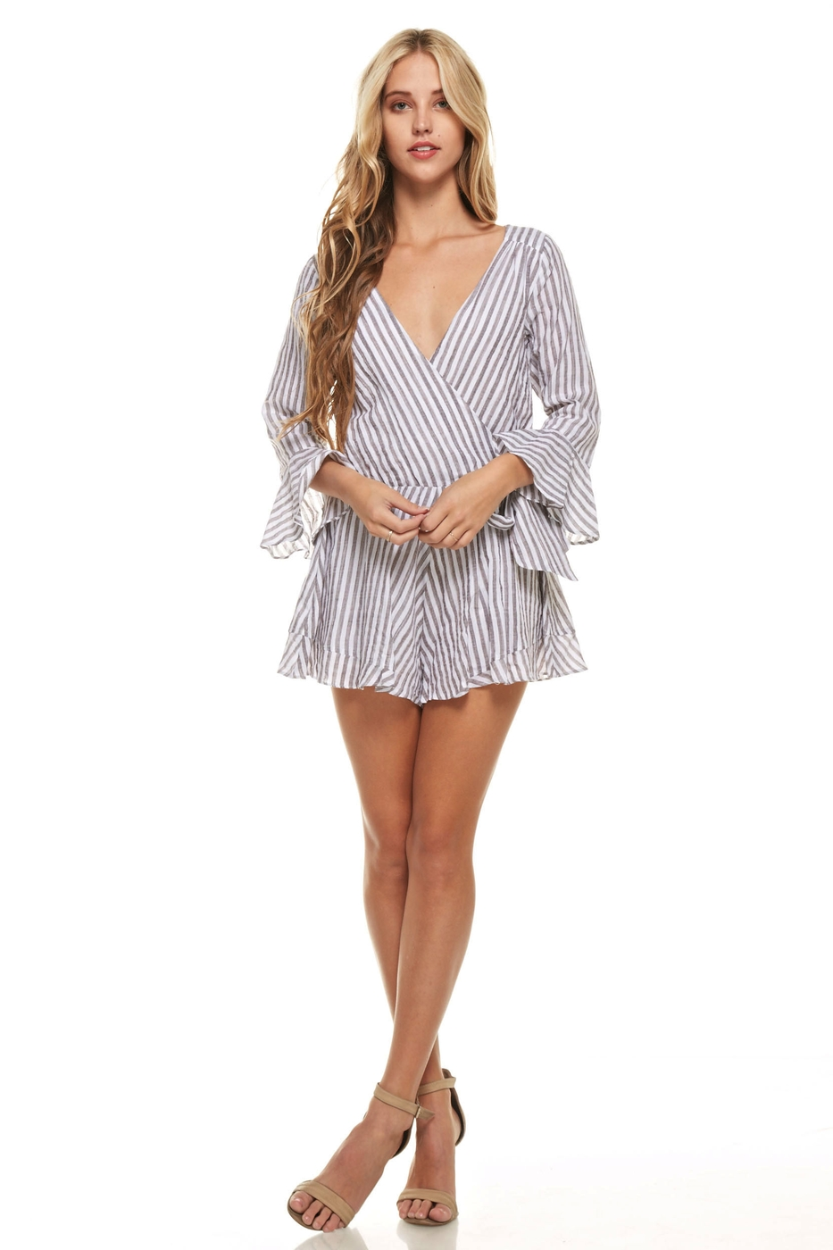 Striped Bell Sleeve Romper - orangeshine.com