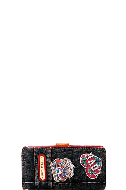 Nicole Lee Thea Denim Patch Wallet - orangeshine.com