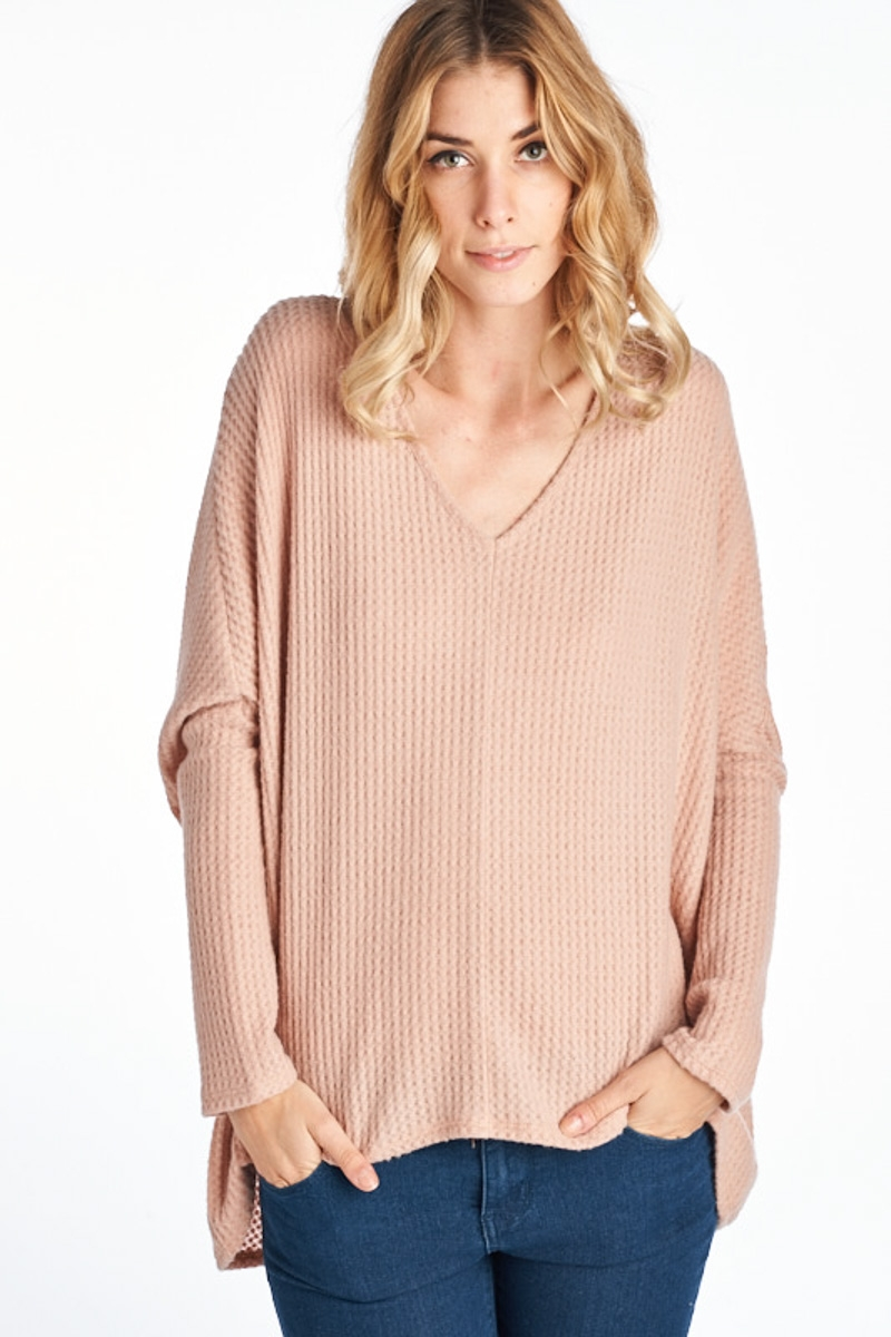 Loose Fit Waffle Knit Top - orangeshine.com