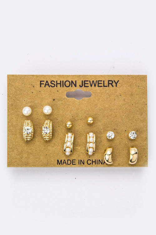 Mix Crystal Pearl Studs Set - orangeshine.com