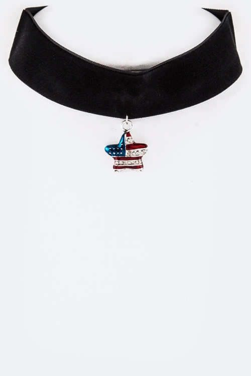 Crystal Star US Flag Velvet Choker - orangeshine.com