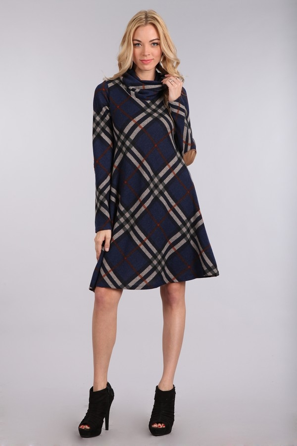Plaid elbow patch dress - orangeshine.com