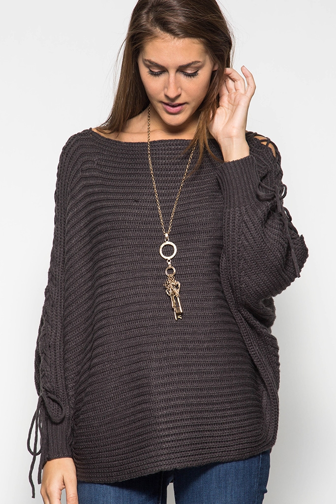 SWEATER WITH LACE-UP SLEEVE - orangeshine.com