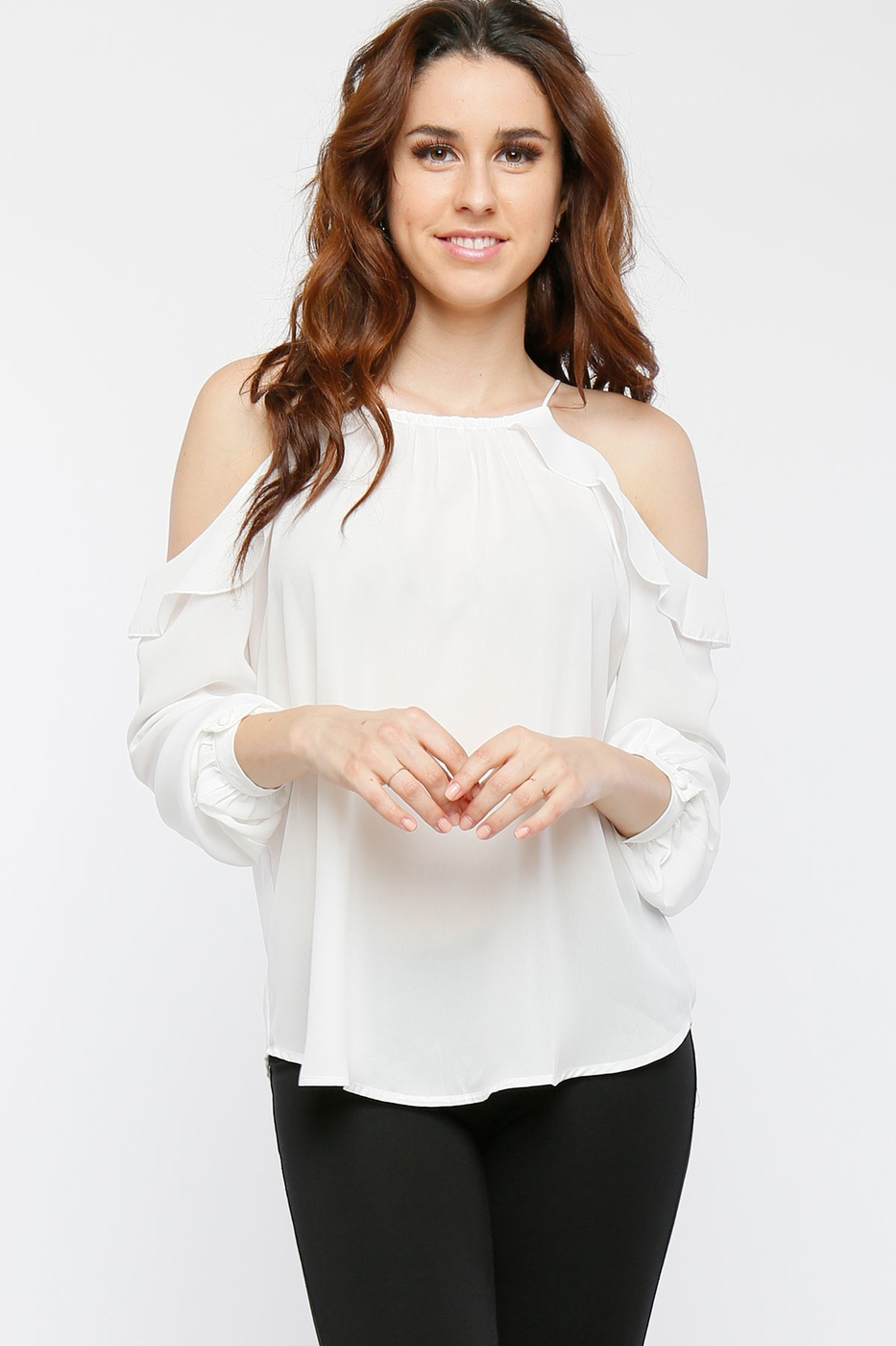 Cuff Sleeve Cold Shoulder Blouse - orangeshine.com