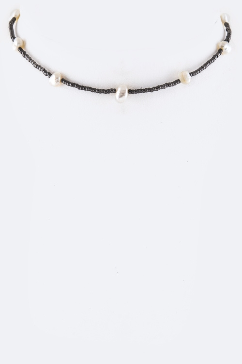 Pearl & Bead Station Choker Necklace - orangeshine.com