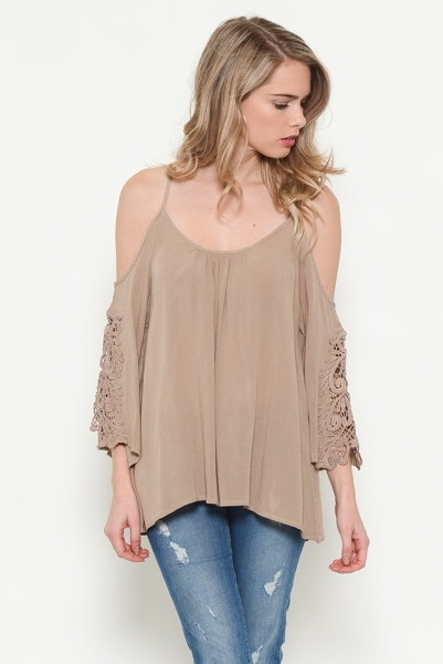 Patch Detail Cold Shoulder Woven Top - orangeshine.com