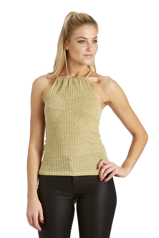 RIBBED HALTER NECK TOP - orangeshine.com