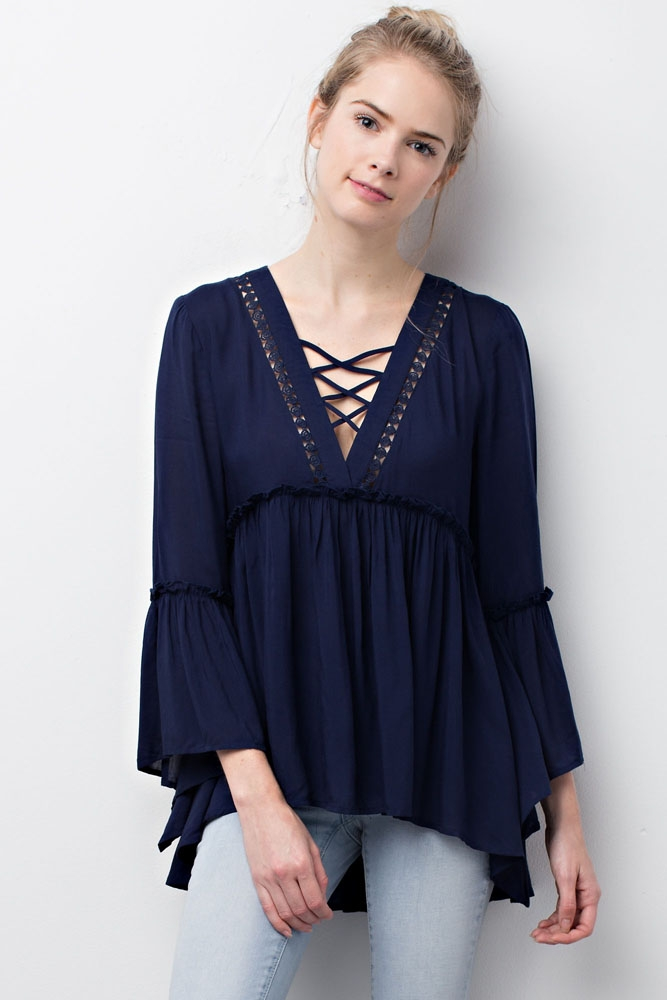Front Lace up Tunic Top - orangeshine.com