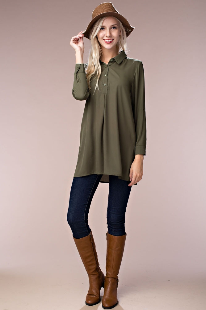 Solid Color Open Cross Back Blouse - orangeshine.com