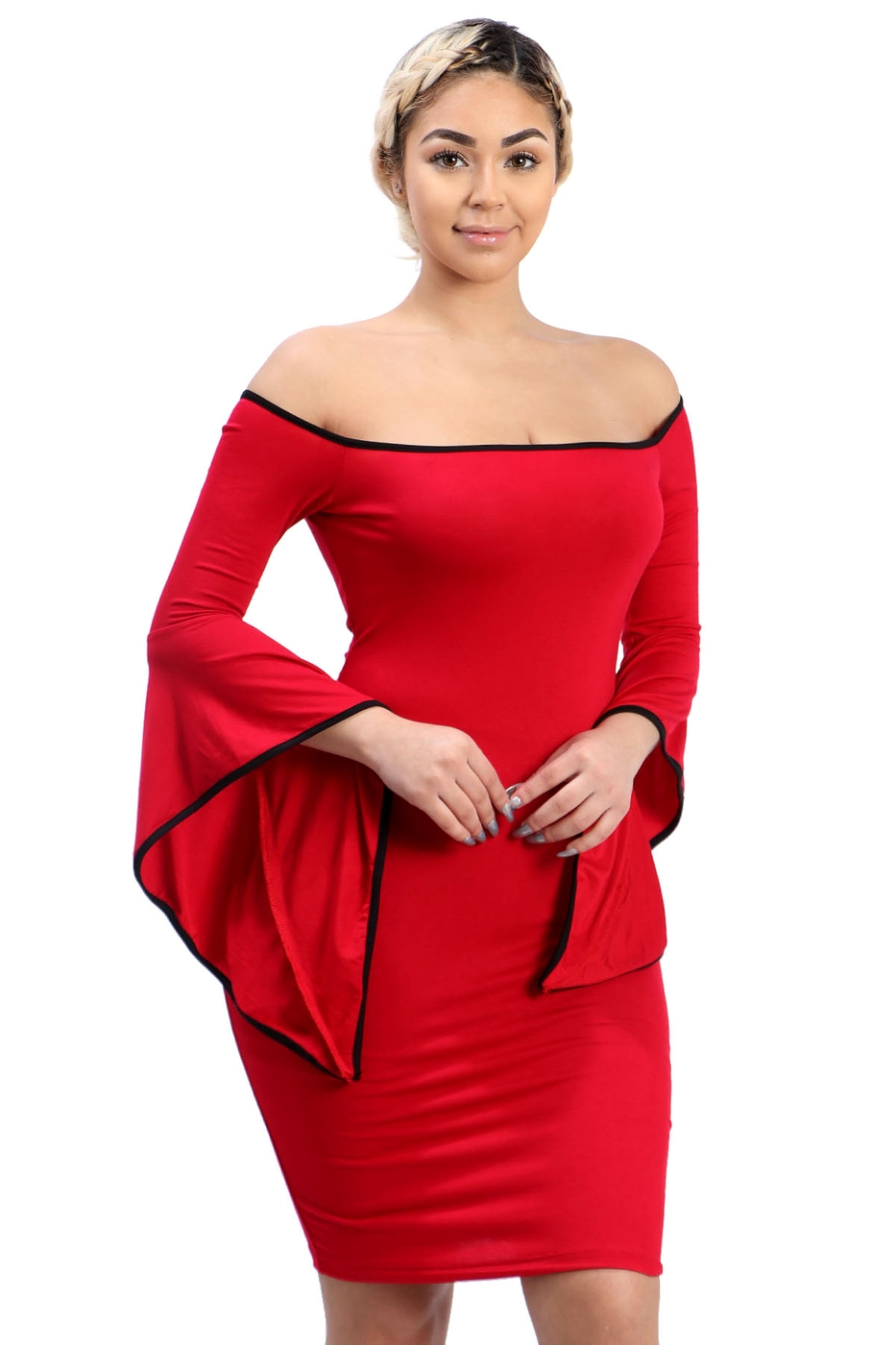 Off shoulder ruffle sleeves bodycon - orangeshine.com