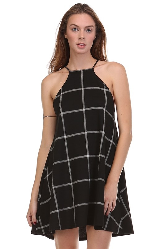 CHECKERED SLIP DRESS - orangeshine.com