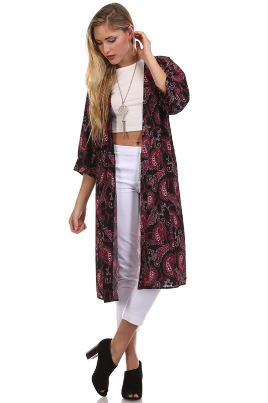 PAISLEY PRINT CUFFED SLEEVE LONG CAR - orangeshine.com