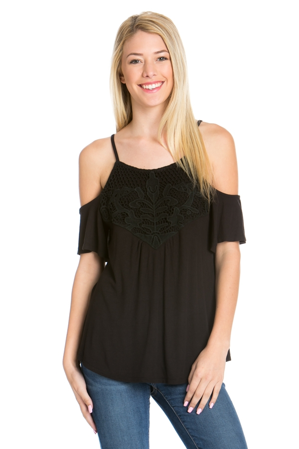 COLD SHOULDER RIBBED SLUB TOP - orangeshine.com