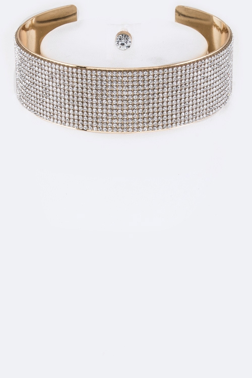 Layer Crystals Choker Necklace Set - orangeshine.com