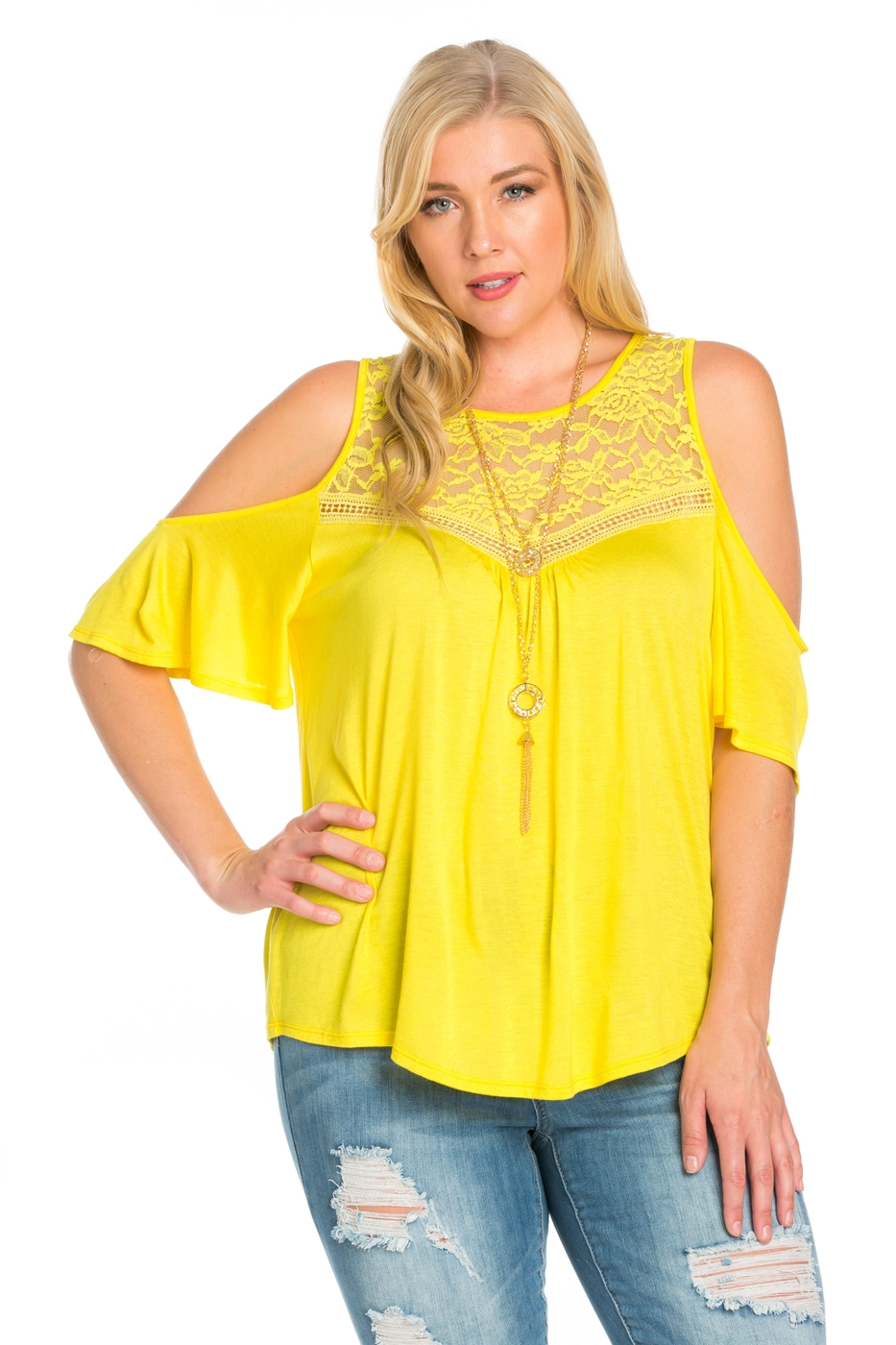 PLUS SIZE TEXTURED LACE CAP TOP - orangeshine.com