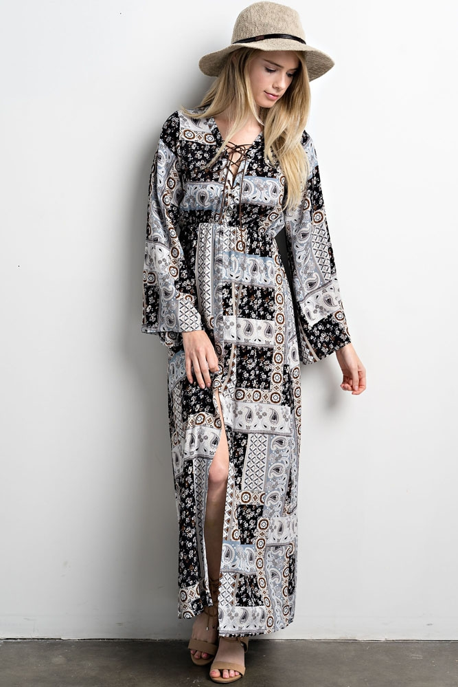 Print Long Dress With Cross Tie - orangeshine.com