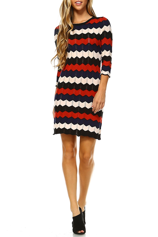KNIT CHEVRON SWEATER DRESS - orangeshine.com