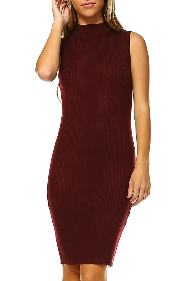 SLEEVELESS KNIT BODYCON DRESS - orangeshine.com