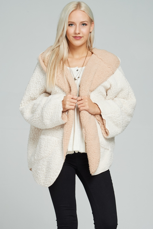 Shaggy fur long sleeve jacket - orangeshine.com
