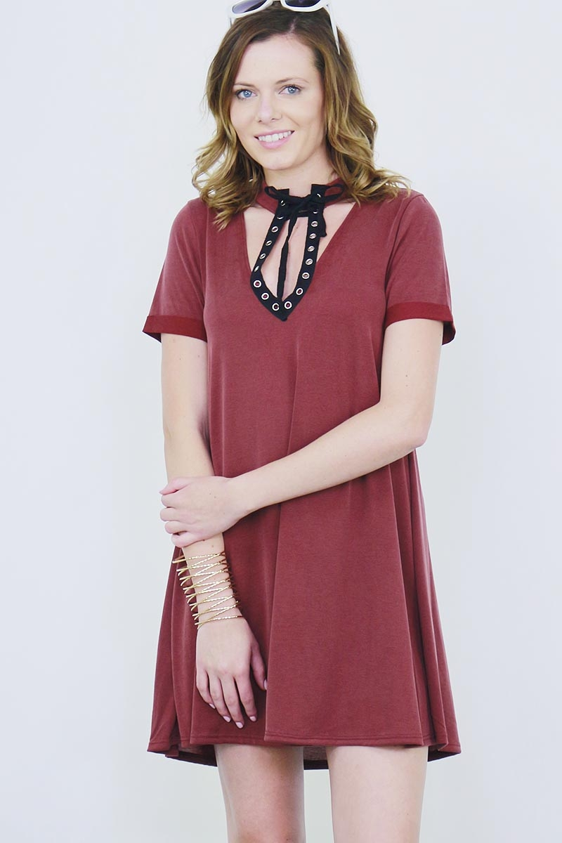 EYELET PATCH MODAL DRESS - orangeshine.com