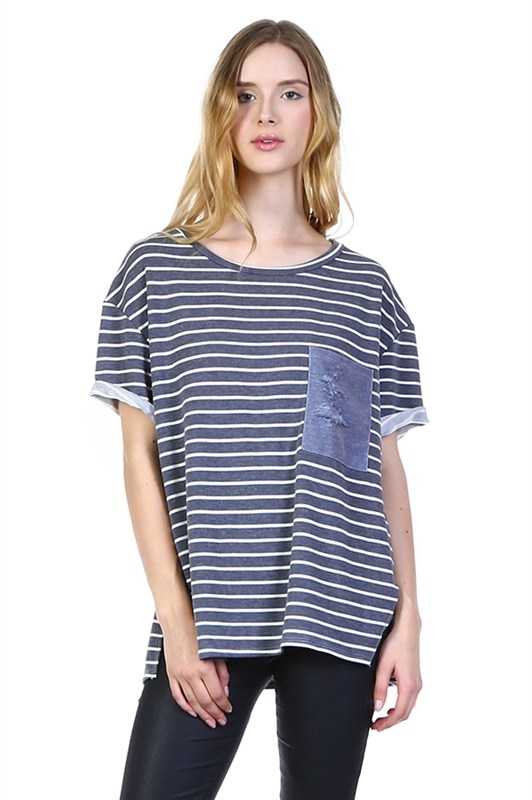 RIPPED POCKET CUFFED SLEEVE STRIPED  - orangeshine.com