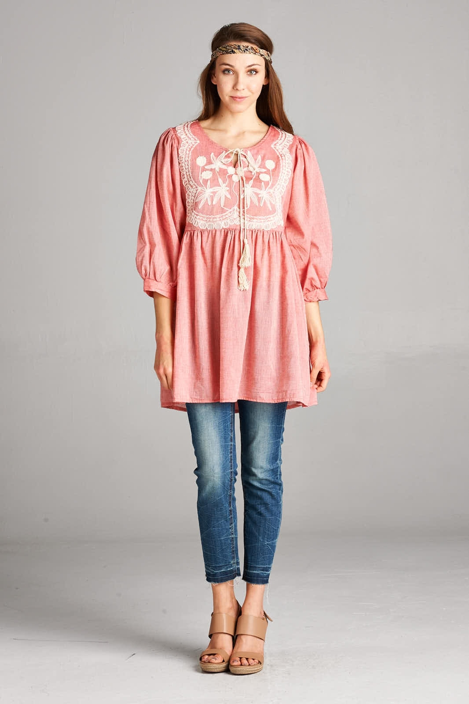 Chambray embroidered tunic - orangeshine.com