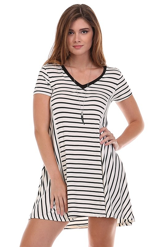 CONTRAST STRIPED V-NECK SWING  TUNIC - orangeshine.com