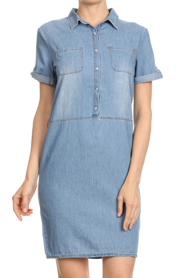 DENIM BUTTON UP SHIRT DRESS  - orangeshine.com