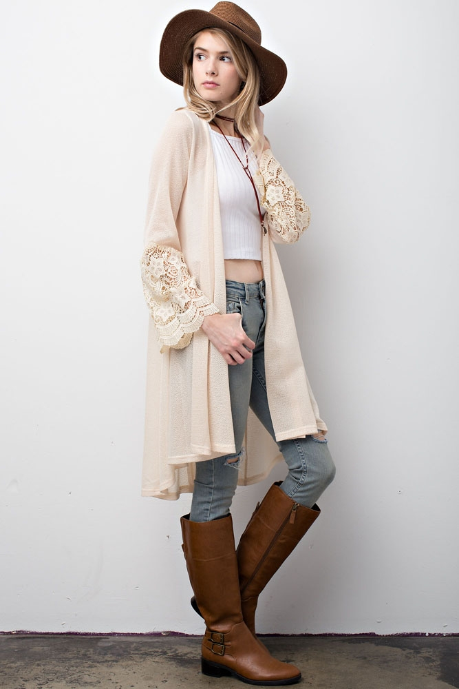 Loose Fit Cardigan With Lace Trim - orangeshine.com