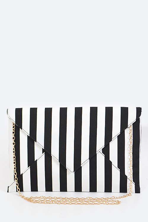 Stripe Print Envelope Clutch - orangeshine.com