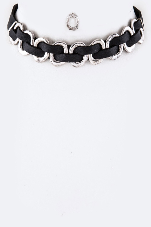 Laced Metal Hoops Choker Necklace  - orangeshine.com