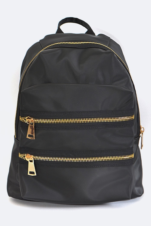 Double Zippers Nylon Backpack - orangeshine.com