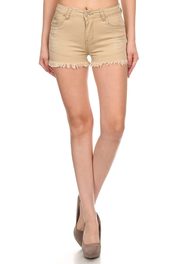 KHAKI HOT SHORTS FRINGED BOTTOM - orangeshine.com