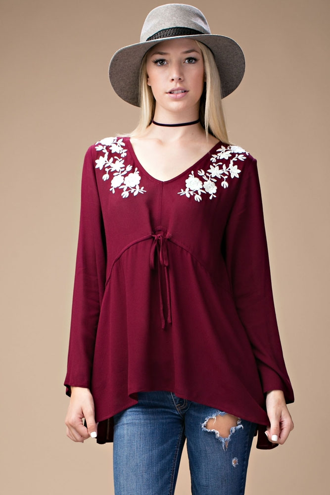 BELL SLEEVE TOP WITH BELT TIE  - orangeshine.com