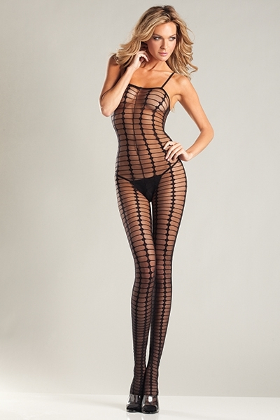Sheer Black Crochet Bodystocking - orangeshine.com