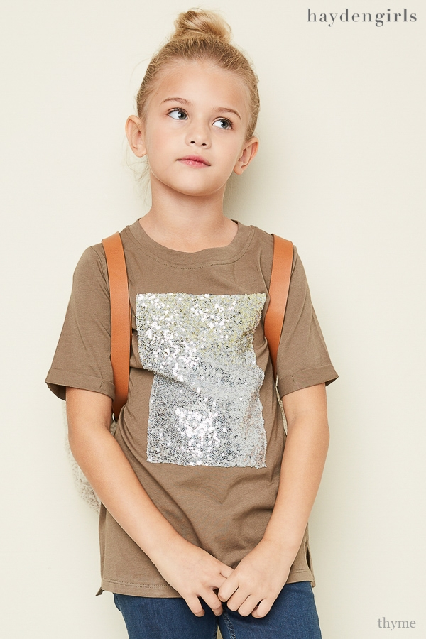 Sequin Detailed Tee - orangeshine.com